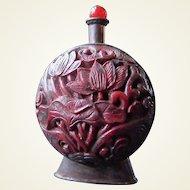 Lacquer ware/copper snuff bottle 1900-1940