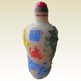Late 18C.Hand Carved Relief Snuff Bottle - 4 Colour.
