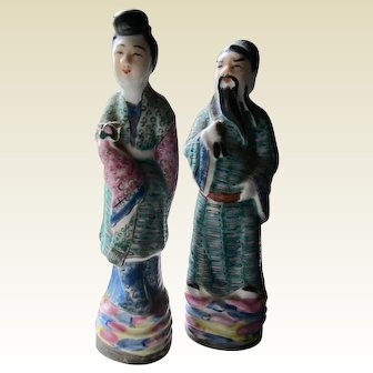 Two famille rose figures