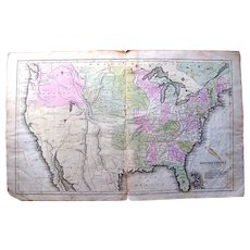 1846 Map of the United States showing Indian territories