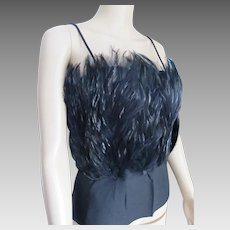 Stunning Lustrous Black Feather Top.