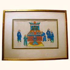 19C Pith painting depiction of rare Zhou ritual