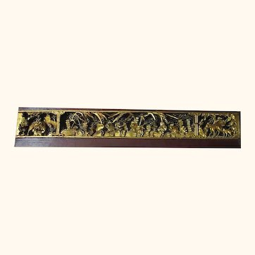 Early 1800s Temple Hand Carved Gilt Frieze, 43 inches by eight inches