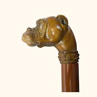 Old Hand Carved Bulldog Cane, walking stick.
