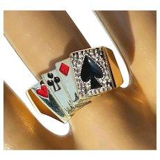 Vintage Deck of 'Lucky' Poker Cards Gambling Enamel Diamond Casino Ring 9 3/4