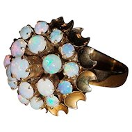 Vintage Natural Opal Cluster Cocktail Ring 7.5