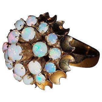 Vintage Natural Opal Cluster Cocktail Ring 7.5