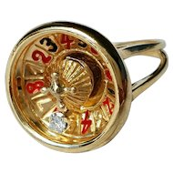 14K Moving Spinning Diamond Roulette Wheel Casino Gambling Spinner Ring 7
