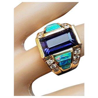 14K Amethyst Black Opal Diamond Ring 6.5