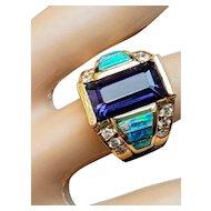 14K Inlaid Black Opal Amethyst & Diamond Ring