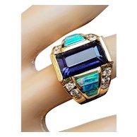 Vintage 14K Purple Amethyst Black Opal Diamond Gemstone Ring 6.5