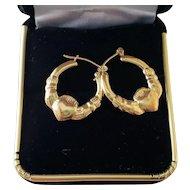 Vintage 14K Irish Celtic Claddagh Hoop Earrings