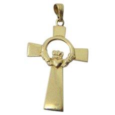 Vintage 14K Irish Claddaugh Cross Necklace