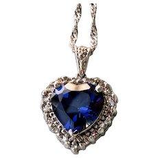14K Vintage Blue Sapphire Heart Natural Diamond Halo Pendant Necklace