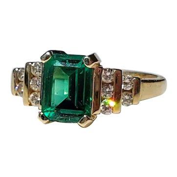 14K Emerald Diamond Ring 5 3/4