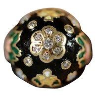 14K Diamond Flower Enamel Cloisonne Dome Ring