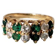 14K Vintage Designer Effy Double Row of Emeralds Diamond Eternity Ring 5