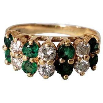 14K Vintage Designer Effy Double Row of Emeralds Diamond Eternity Ring 5