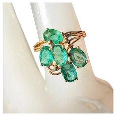 14K Vintage Natural Emerald Cluster Ring 7
