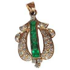 14K Art Deco Emerald Diamond Pendant
