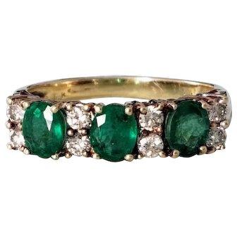 14K Emerald & Diamond Semi Eternity Ring 7