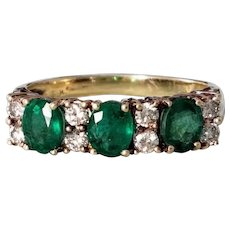 Vintage 14K Yellow Gold Emerald and Diamond Semi Eternity Ring 7