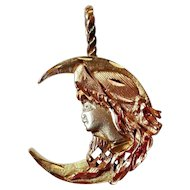 Vintage Lady in Moon Pendant Tri-Color Rose White & Yellow 14K Gold