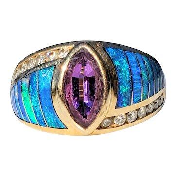 14K Black Opal & Diamond Tanzanite Kabana Ring 6