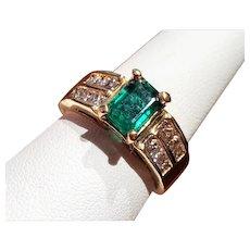 14K Emerald & Diamond Ring 7.5