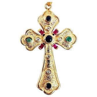 14K Emerald Diamond Sapphire Cross Pendant Necklace