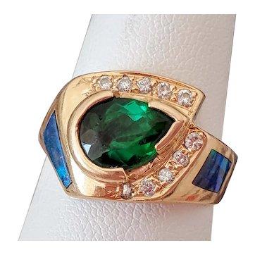 14K Green Tourmaline Black Opal Diamond Ring 7.5