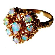 14K Natural Opal Cluster Heart Ring 5.75