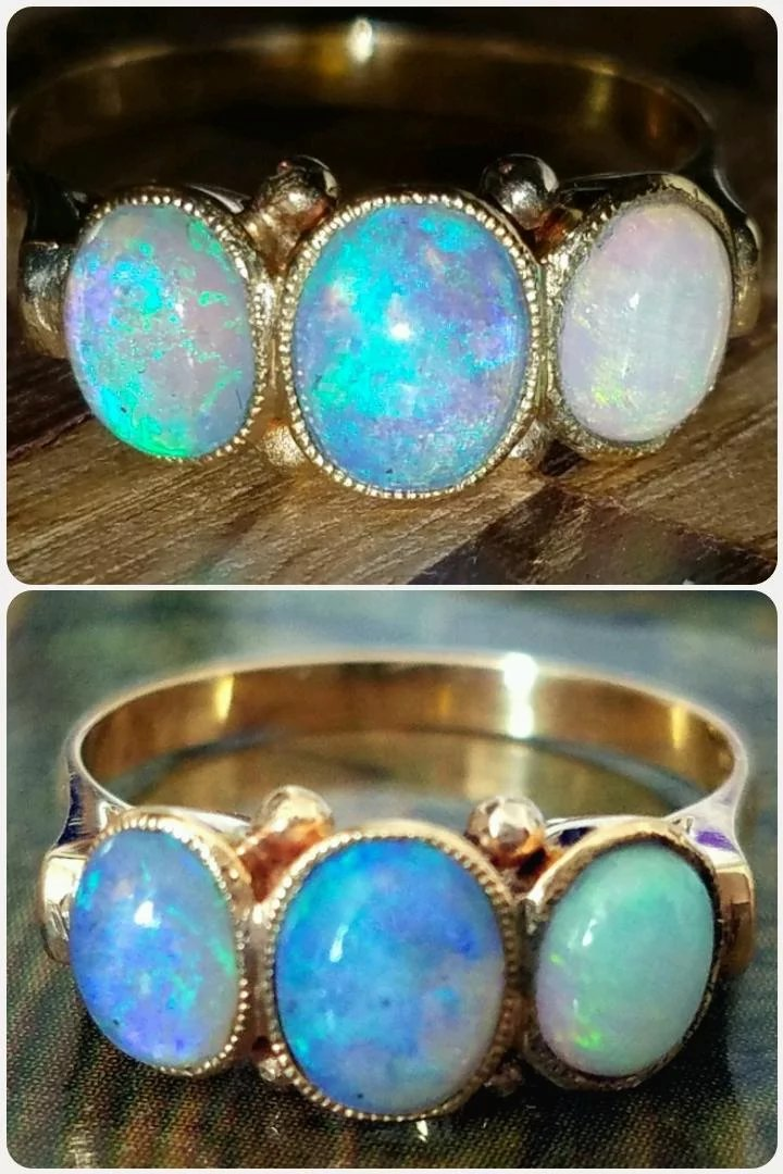 18k Antique 3 Stone Opal Victorian Trilogy Ring 5 5