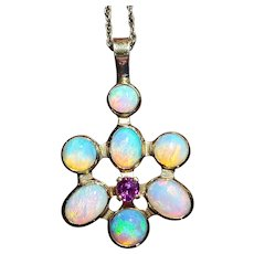 14K Opal Pink Tourmaline Pendant Necklace
