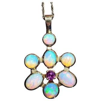 14K Natural Opal and Pink Tourmaline Vintage Pendant/Necklace