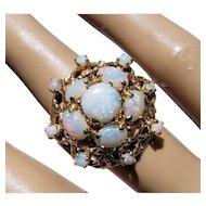 14K Vintage Opal Cluster Ring 6