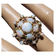 14K White Crystal Opal Cluster Cocktail Ring 6