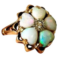 14K Opal Heart Diamond Antique Ring