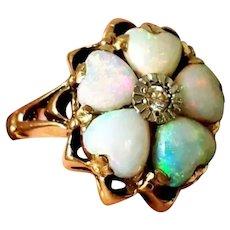 Old 14K Opal Heart-Shaped Diamond Ring