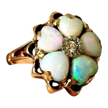 Antique 14K Heart Shaped Opal & Diamond Accent Ring