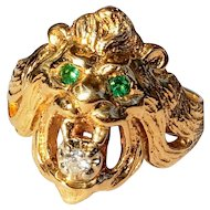 Vintage 14K Lion's Head Ring Emerald Eyes Diamond Mouth 10.25