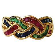 14K Emerald Ruby Sapphire Woven Celtic Knot 26 Vintage Gemstone Ring 7.5