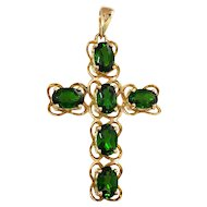Vintage 14K Green Tourmaline Cross Pendant