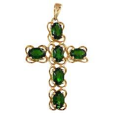 14K Green Tourmaline Cross Pendant Necklace