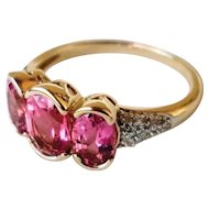 14K Pink Tourmaline Diamond Ring 6
