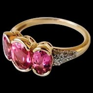 Vintage 14K Pink Tourmaline Diamond Gemstone Ring 6