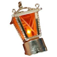 Rare 14K Vintage Lantern Lamp Light Up Pendant