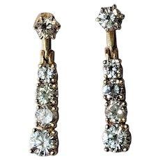 14K 2.44tcw Diamond Stud Dangle Earrings