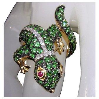14K Green Tsavorite Garnet Diamond Gecko Lizard Chameleon Ring 7.5