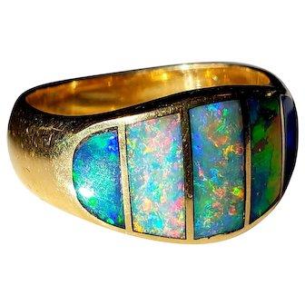 14K Men's Black Opal Ring 9 3/4